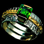 TRIPLE BAND - EMERALD / WHITE 14K GOLD WITH 18K YELLOW BAND ALSO AVAILABLE IN STERLING SILVER.